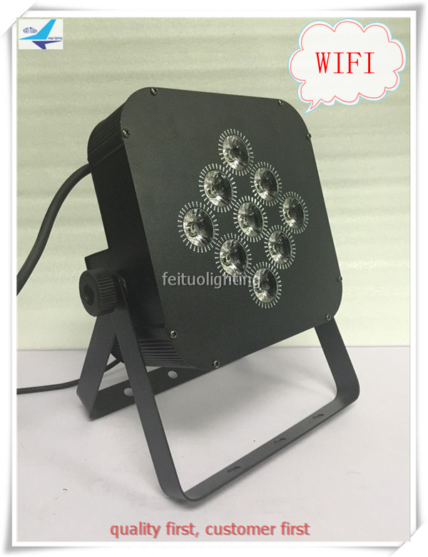 free shipping 8pcs/lot Bright LED Par 9x18w Wfi Stage Light 6IN1 RGBWA UV Wireless Recharge Par Can Battery Show Disco Lighting