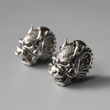 Wholesale Artisan Handcrafted Metal&Bronze Dragon Three Hole Beads For Jewelry Making Tibetan Buddhism Vintage Copper Guru Beads