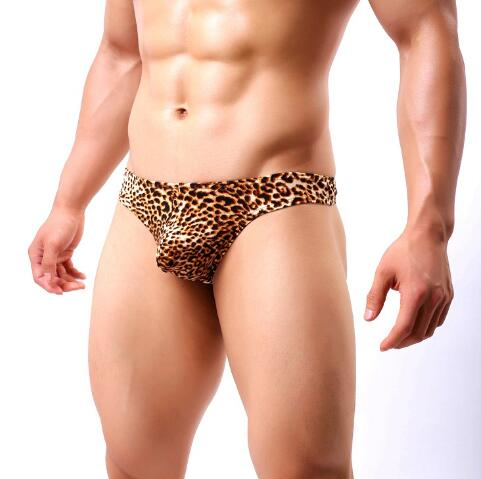 XXXL <font><b>XXL</b></font> <font><b>XL</b></font> L M Plus size Leopard Low Waist Sexy Men Underwear Briefs Gay Penis Pouch Mens <font><b>Bikini</b></font> Brief Underwear Sleepwear image