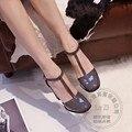 Sapatos Mulher Bombas Calçados Cinta T Furão Coringa Sapatos Com Espessura solas de Vinho Quadrado Vermelho Pu Salto Do Dedo Do Pé Quadrado Fotos Hasp Pele De Porco