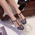 Shoes Woman Pumps Footwear T Strap Joker Ferret Shoes With Thick Soles Wine Red Square Heel Pu Square Toe Photos Hasp Pigskin