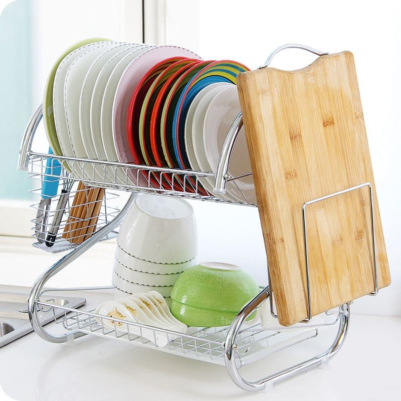 2 Tier Drying Dish Rack Stainless Steel Kitchen Storage Rack Basket Washing Sink Drainer Holder Cutlery Cup Cutting Board Shelf