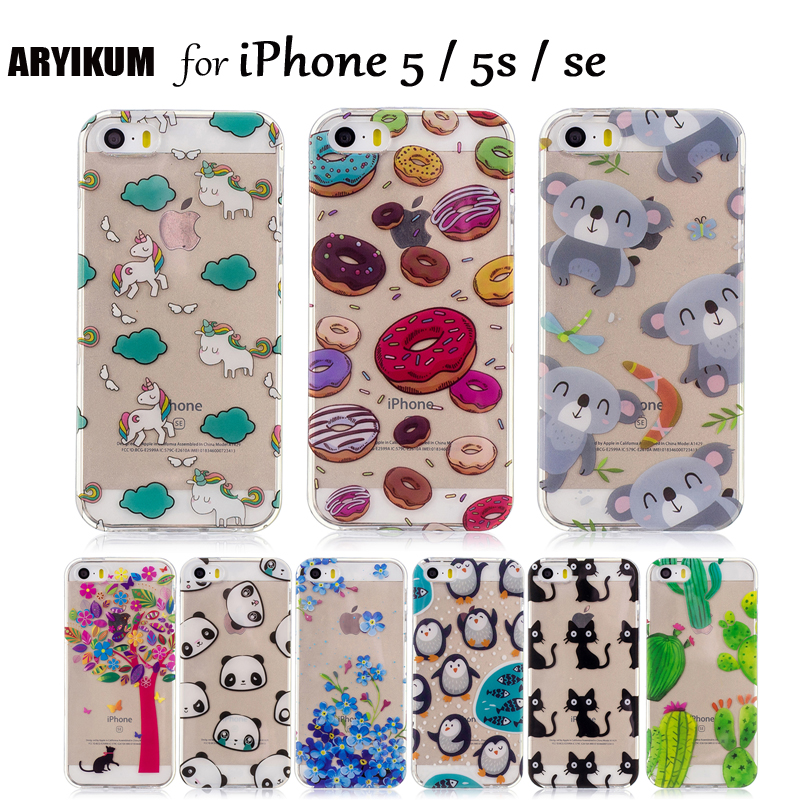 For iPhone 5s SE 5 Coque iPhone 5SE Case Silicone Cute Cartoon Panda Cat Unicorn Thin TPU Transparent Back Cover For ihone 5s 5