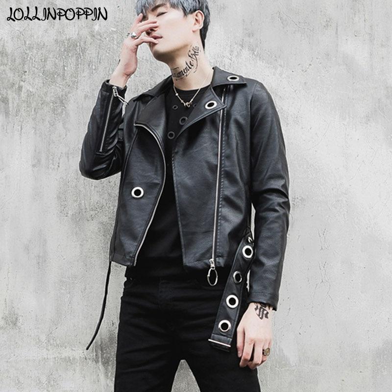 Hommes Punk moto Faux cuir veste courte longueur Hip Hop Rock hommes scène PU Slim Fit manteau noir Biker veste