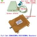 Dual Band Repetidor Ganho 65dB 850/1800 MHz Telefone Celular Impulsionador DCS CDMA GSM 4G Signal Booster amplificador com LDPA antena chicote