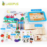 Lagopus 56pcs Board Drawing Toy Educational Coloring Book Paint Learning Coloring Board Wooden School Paint Tools