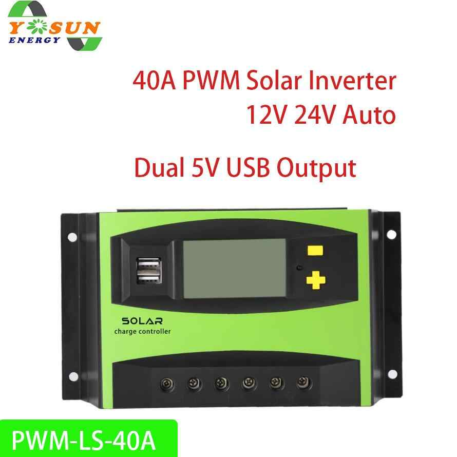 40A PWM Solar Controller 12V 24V Auto Sensing 48V Solar Charge Controller Rregulator with LCD Display Dual USB Output 5V 2A