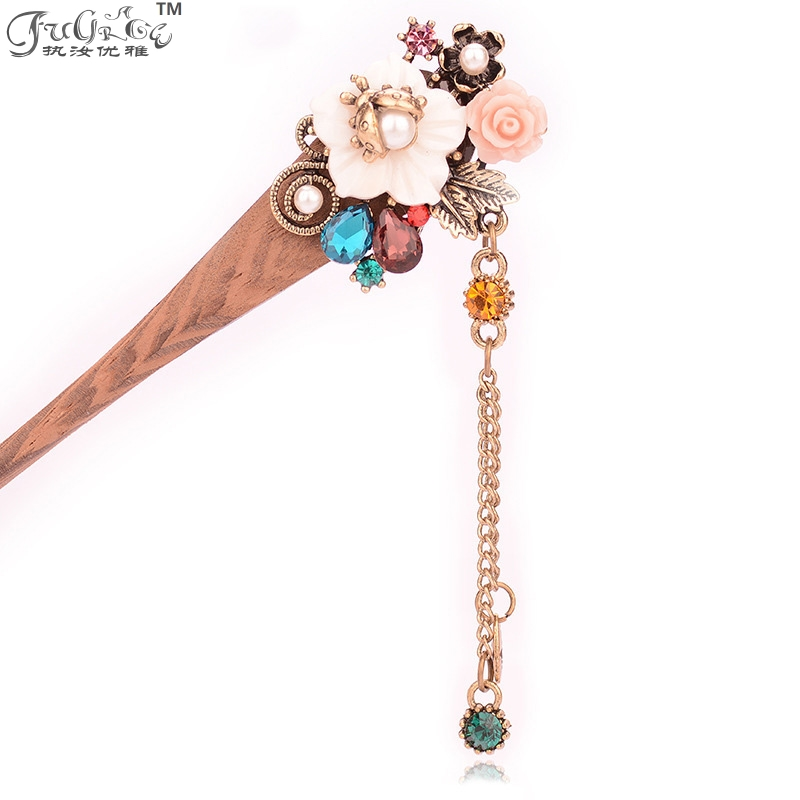 New crystal hairpin shell, flower type Bob costume, with pendant wood hairpin Retro