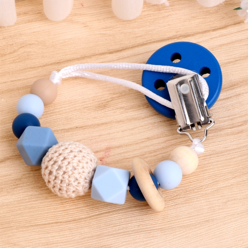 Cute Baby Silicone Teething Dummy Pacifier Clip Bead Infant Soother Nipple Strap Chain
