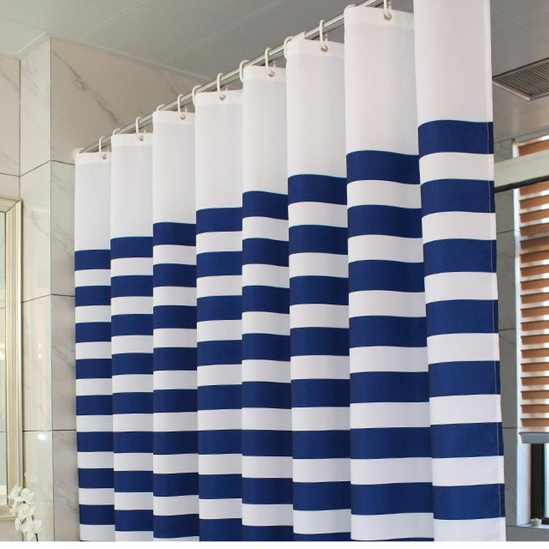 Waterproof Shower Curtain Polyester Eco Friendly Shower Curtains Blue And  White Striped Curtain For The Bathroom Douchegordijn In Shower Curtains  From Home ...