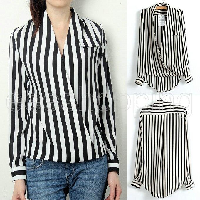 Hot Women Chiffon Blouse Fashion Classic Black White Stripe Sexy V ...