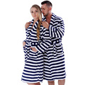 Men Women Plus Size Coral Fleece Navy Stripe Warm Bath Robe Pyjama Dressing Gown Sleepwear Bathrobe For Couples