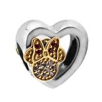 FANDOLA Beads 100% 925 Sterling Silver Mickey & Minnie Love Icons Charm Beads Fits Pandora Charms Bracelet Women DIY Jewelry