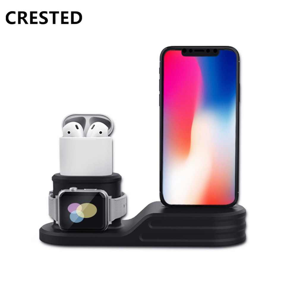 CRESTED watch Accessories For Apple watch band 4 3 5 iwatch band strap Airpods Iphone X  8 7  6 Silicone charge Station