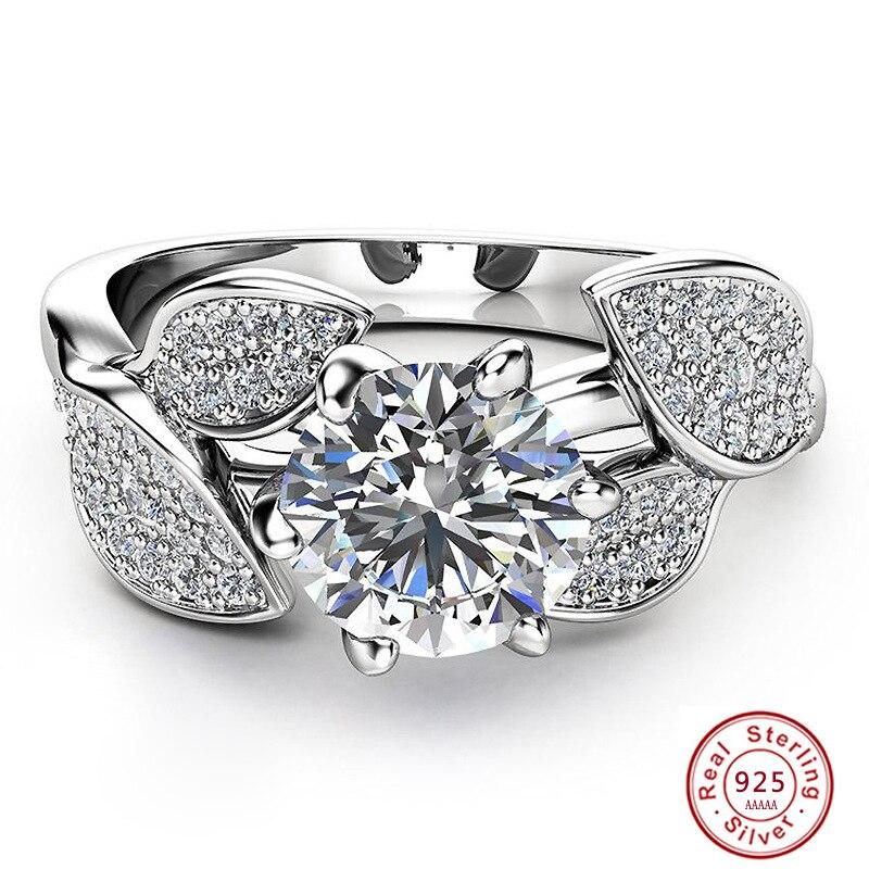 AnpassungsfäHig Mode Elegant Original 925 Sterling Silber Ringe Für Frauen Dazzling Blume Ring 1 Karat Zirkon Anniversary Verkauf Bijoux