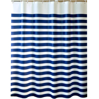 Modern Blue and White Stripe PEVA Shower Curtain Moldproof Waterproof Thickening Curtains Bathroom Curtain With Hooks 180*180cm