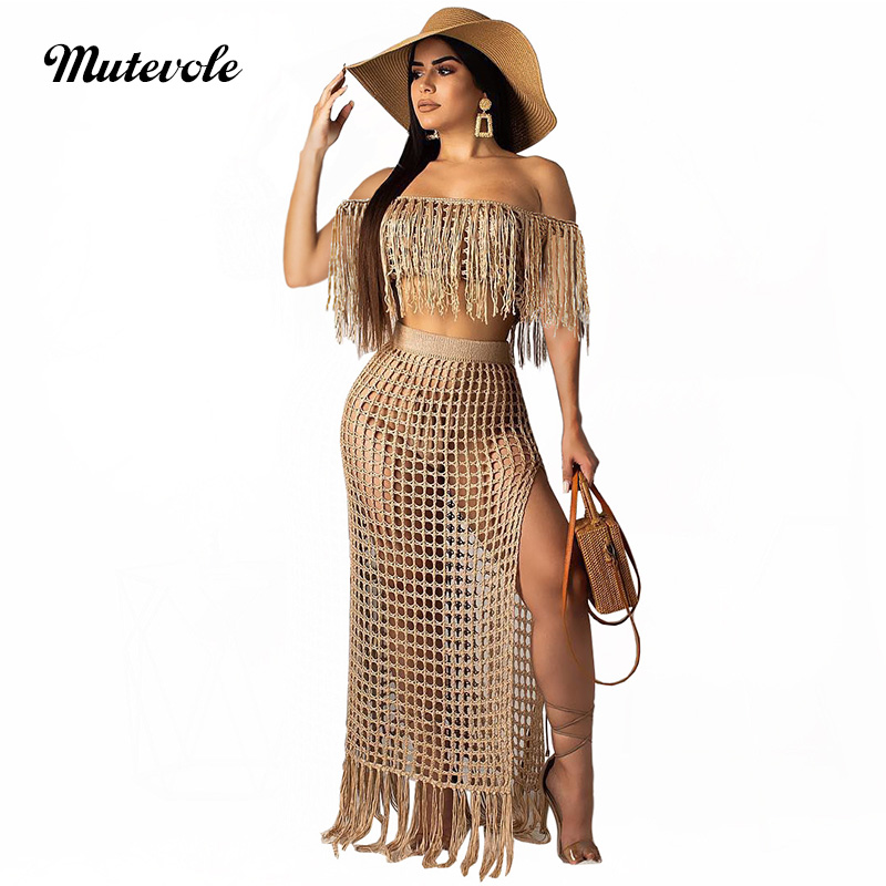 Mutevole Summer Short Sleeve Two Piece Tassel Sets Women <font><b>Sexy</b></font> Hollow Out 2 Piece Knit Set <font><b>Crochet</b></font> <font><b>Crop</b></font> <font><b>Top</b></font> and High Split Skirt image