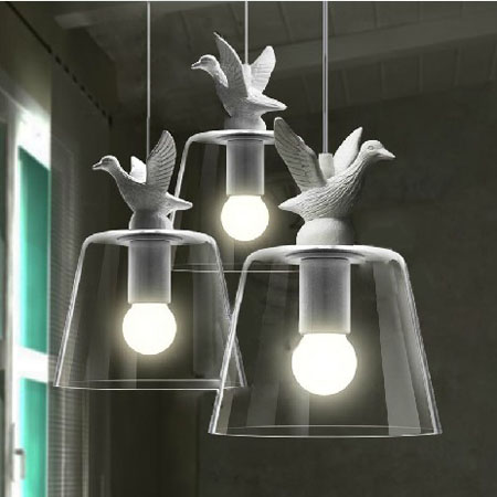 Modern brief personality vintage bar counter glass american white bird pendant light E27