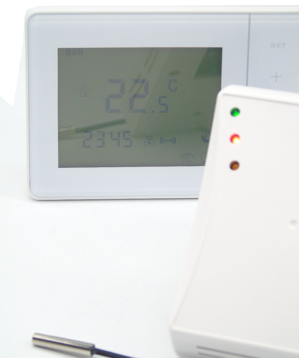 470MHZ 433MHZ Wireless digital temperature controller floor heating thermostat with valve control 7 days 6 1 days 5 2 days programming wireless floor heating thermostat valve for heating systems