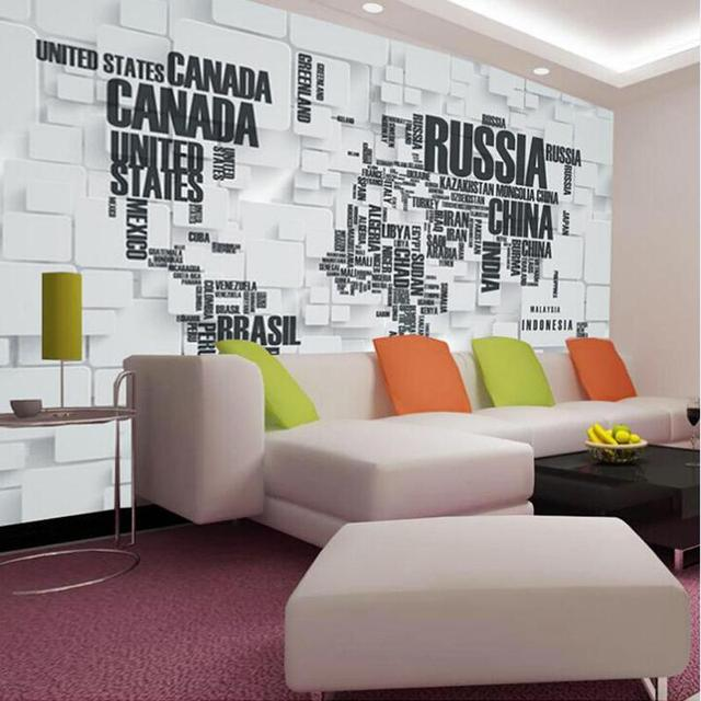 Gran mapa del mundo pared 3d murales de papel tapiz para for Murales en 3d para salas