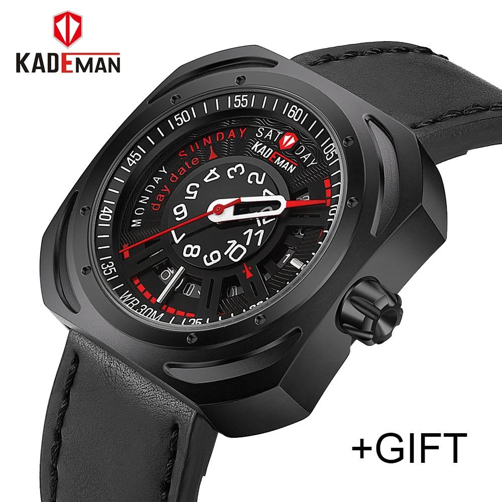 KADEMAN Luxury Brand Men Army Military Watches Men's Quartz Date Clock Man Leather Strap Sports Waterproof Relogio Masculino