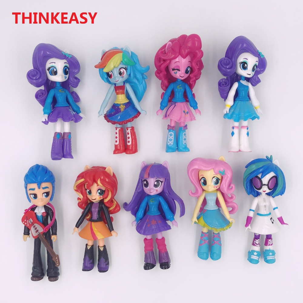 ThinkEasy 13cm my Cute little PVC Lovely Horse Poni Birthday Party Tool Action Toy figurine Dolls for Girl Christmas Gift 8 pcs set kids my cute little anna and elsa set toy action dolls poni for children birthday holiday little gift toys vinyl doll