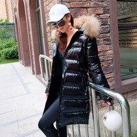 2018 new fashion Winter Women Hot silver Down Jacket Hooded Jackets long down coat Warm Slim real raccoon fur Hooded Parka Coat