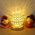 Мини хрустальный круглый шар настольная лампа LED маленькая настольная лампа прикроватный Хрустальный Настольный светильник с металлическ...