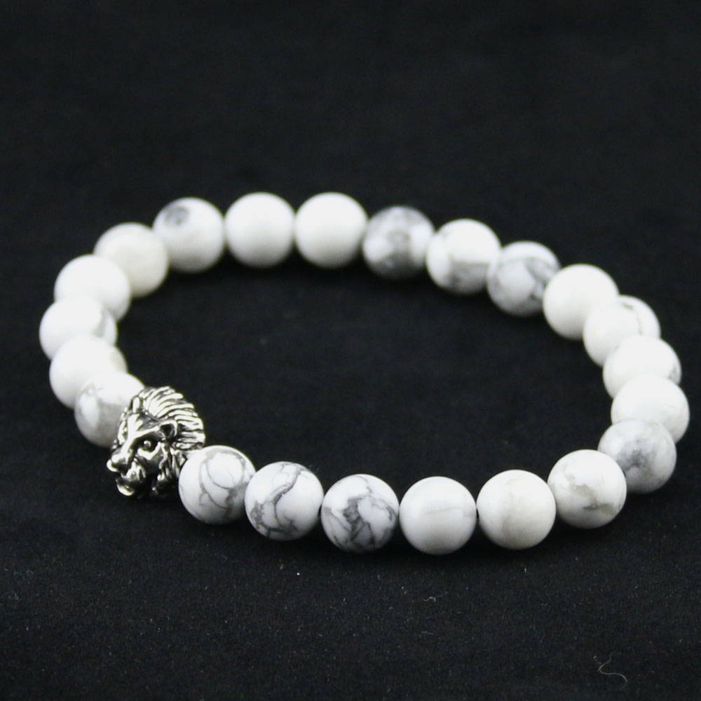 8mm Natural White Howlite Stone Beads Bracelet for Women,Antique Silver and Gold Lion Head Bracelets, High Grade Mens Jewelry