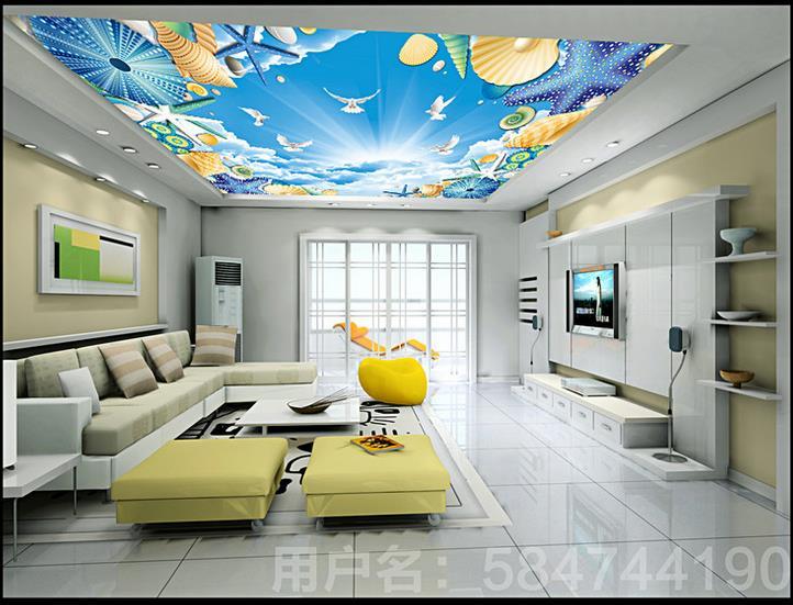 Benutzerdefinierte 3d Decke Tapete Weissen Muscheln Wallpaper Fr Wnde Wandbilder Wohnzimmer