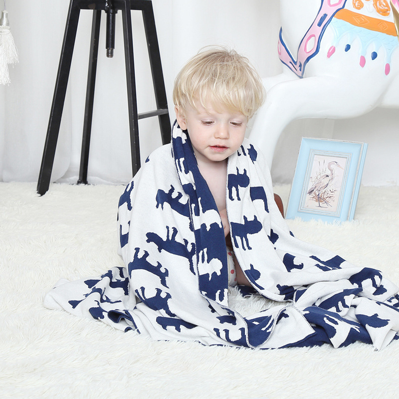 2017 New Arrivals Elk/Cat/Anchor/Horse Blanket 100% Cotton Cute Knitted Bedspread For Sofa/Bed/Home/Gifts 2 Size