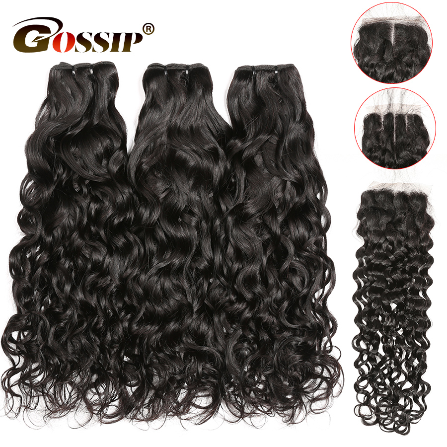 Water Wave Bundles With Closure Remy Human Hair 3 Bundles With Closure 4x4 Lace Closure With
