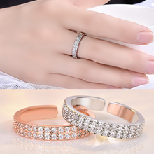Double Row Crystal  AAA Cubic Zircon Ring For Women Fashion Jewelry Wedding Engagement Female Hot Sale