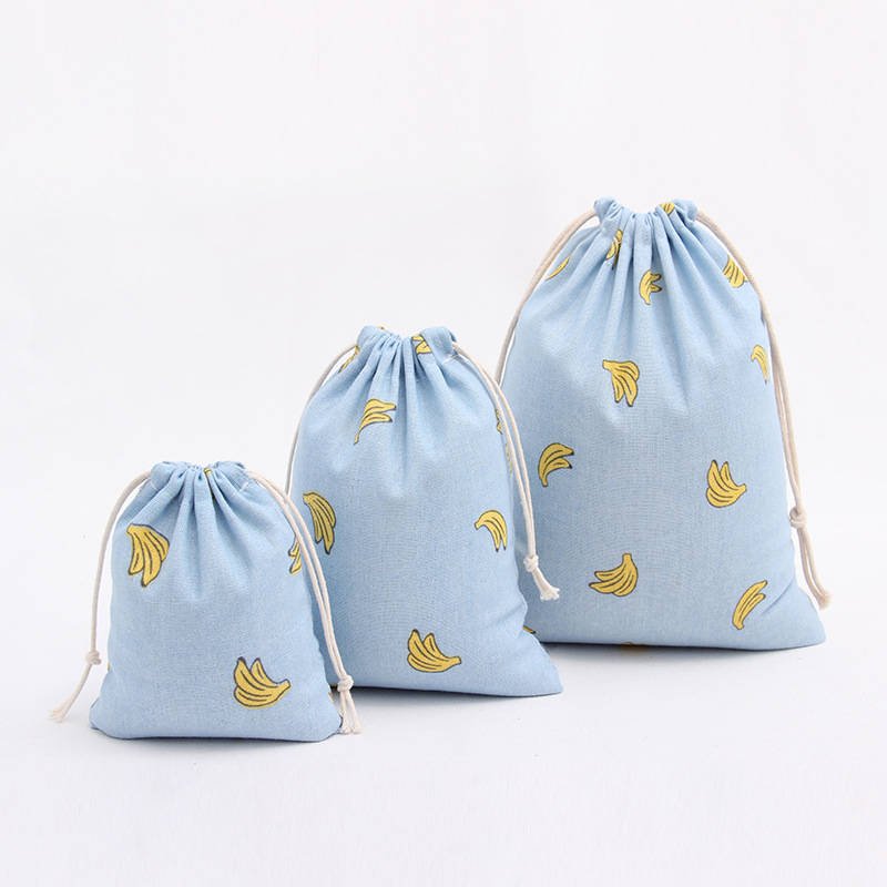 Cotton Linen Bags 16x14cm 19x24cm 25x32cm Banana Linen Drawstring Bag Jewelry Packing Pouch Wedding Gift Bags BB330
