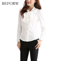 BEFORW New Arrival Long Sleeve Shirt Women Clothing OL Elegant Bow Tie Formal Chiffon Blouse Office