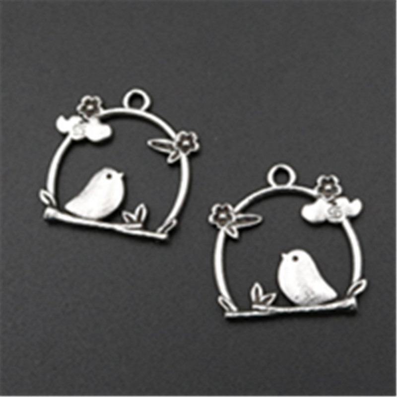 WKOUD 10pcs Antique Sliver My Favorite Birds Nest Canary Charm Earrings Necklaces DIY Fashion Jewelery Findings A592