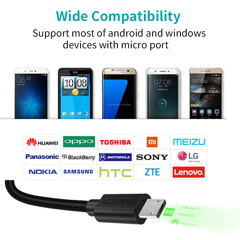 CHOETECH միկրո USB մալուխ 5V 2.4A 1.2 մ 0,5 մ - Բջջային հեռախոսի պարագաներ և պահեստամասեր - Լուսանկար 6