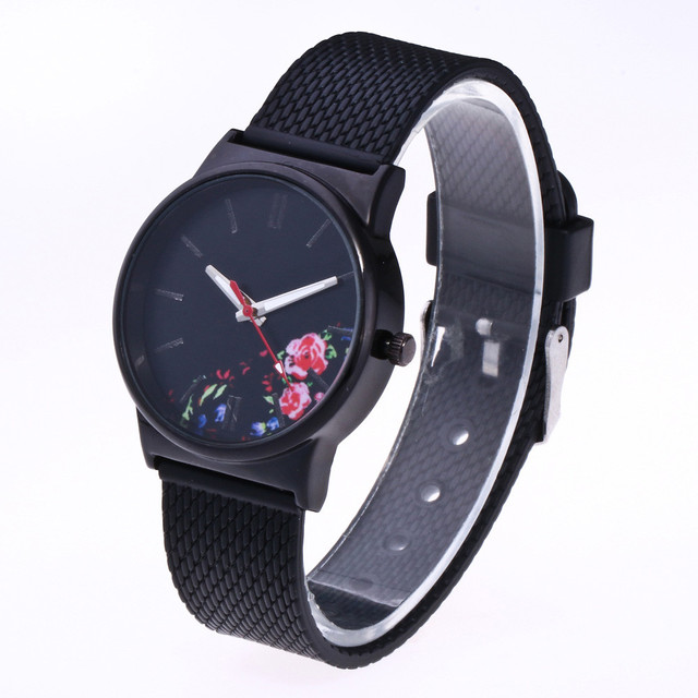 Relogio Feminino 2019 New Fashion Watch Women Floral Design Black Case Japan Bra