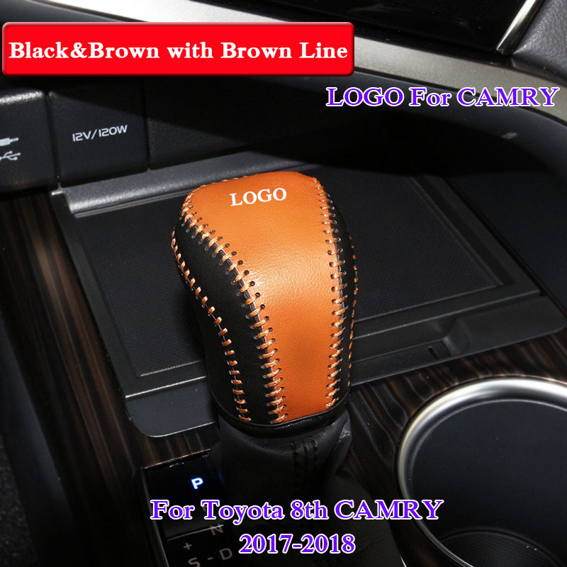 QCBXYYXH Car Styling PU Leather Gear Shift Collars Cover For Toyota Camry 2017 2018 Automatic Gear Shift Knob Cover