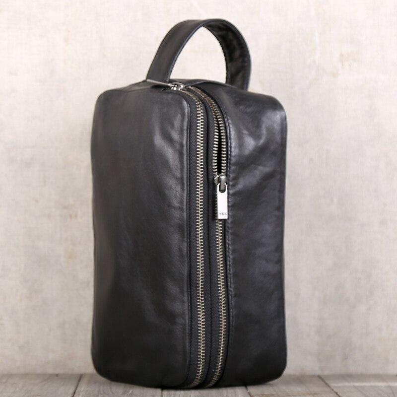 Saco de embreagem dos homens couro genuíno grande capacidade saco de dinheiro luxo masculino duplo zíper carteiras viagem telefone bolsas organizador carteira - 4