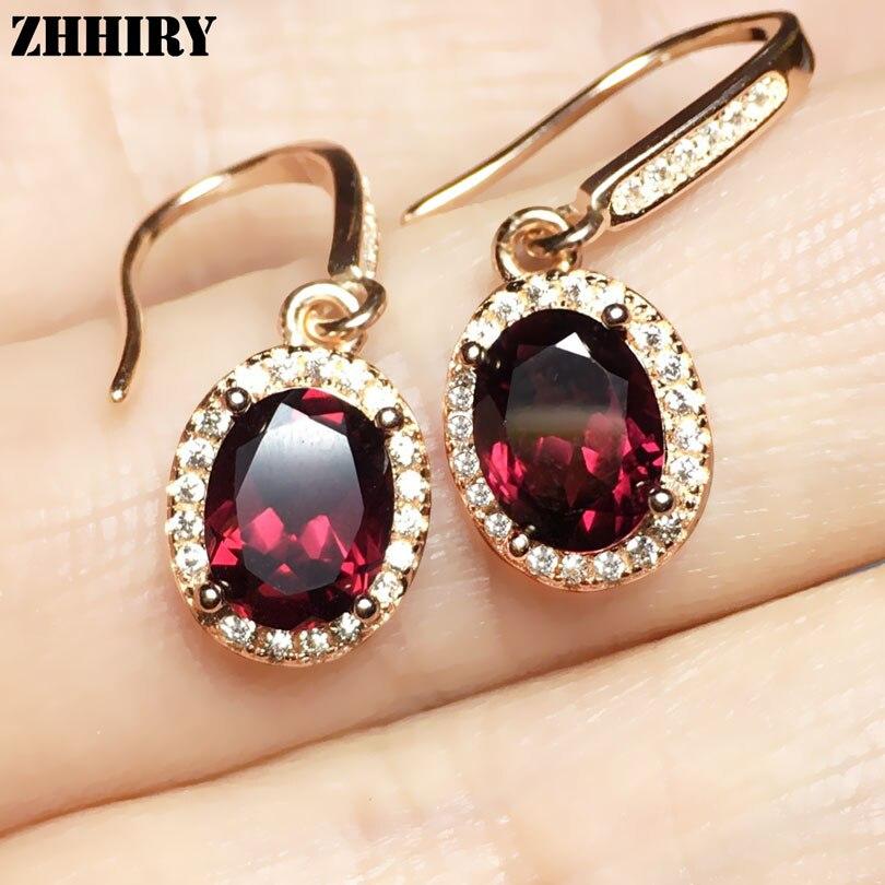 ZHHIEY Natural Pyrope Garnet Earring Genuine Solid 925 Sterling Silver Real Gemstone Earrings Women Fine Jewelry