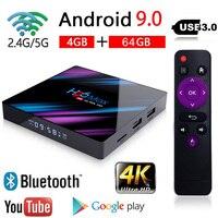 Latest H96 MAX Android 9.0 Smart TV BOX 4GB+64GB Bluetooth 4K Quad Core WiFi Netflix Youtube Google Play Home Audio Media