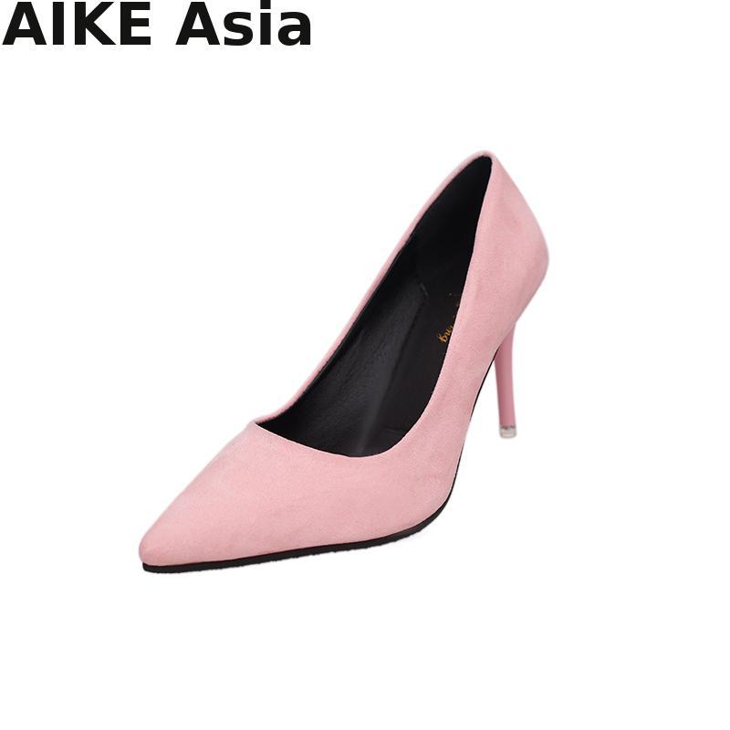 2019 HOT Summer Women Shoes Pointed Toe Pumps Suede Leisure Dress Shoes High Heels Boat Wedding tenis feminino  Sexy2019 HOT Summer Women Shoes Pointed Toe Pumps Suede Leisure Dress Shoes High Heels Boat Wedding tenis feminino  Sexy