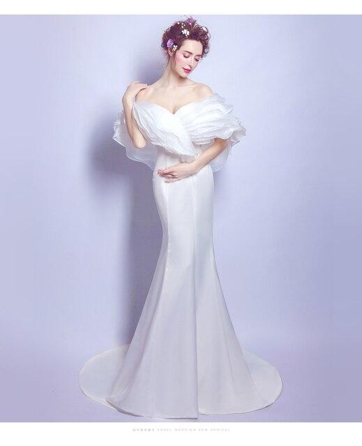6b12efc405 2017 nueva sexy Delgado palabra vestido de novia de cola de pescado blanco  Cola de Organza
