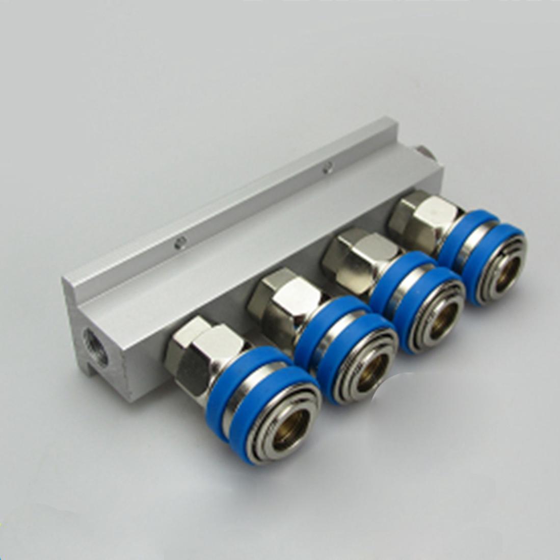 4 Way Solid Aluminum T-Shape Air Manifold Block Splitter With C Type Socket