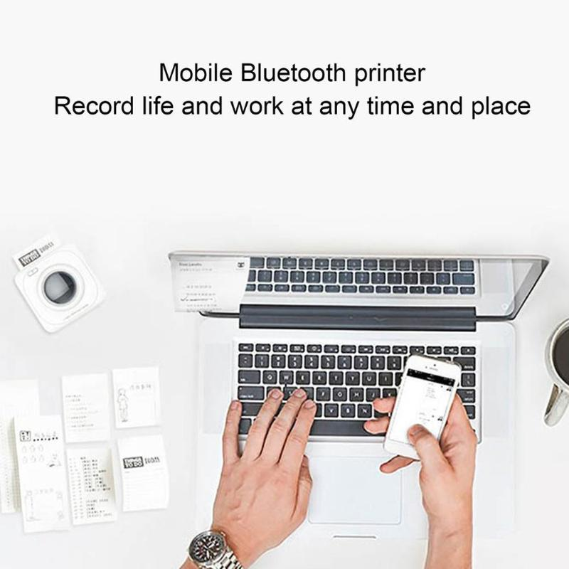 Printer Portable Bluetooth 4.0 POS Thermal Photo Printer Phone Wireless Connection Printer 1000mAh Lithium ion Batter White-in Printers from Computer & Office    3