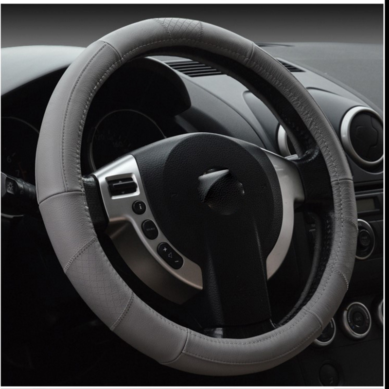 Car Steering Covers Steering Wheels Hubs Top Layer Leather 38cm Seasons General Auto Stying Car Interior Accessories