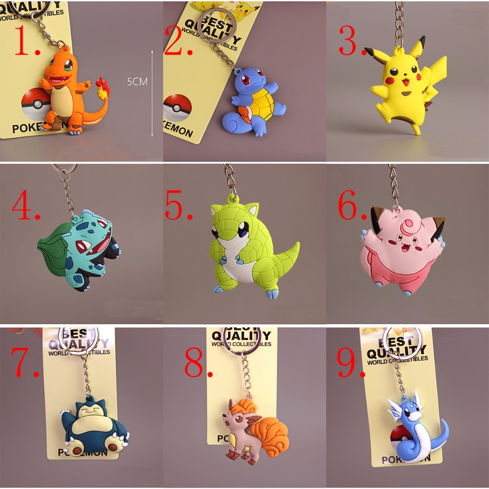 Wholesale 25PCS Pikachu Keychain Pocket Monster Pokemon Go Key Holder Key Ring Pendant , Free Choose Number