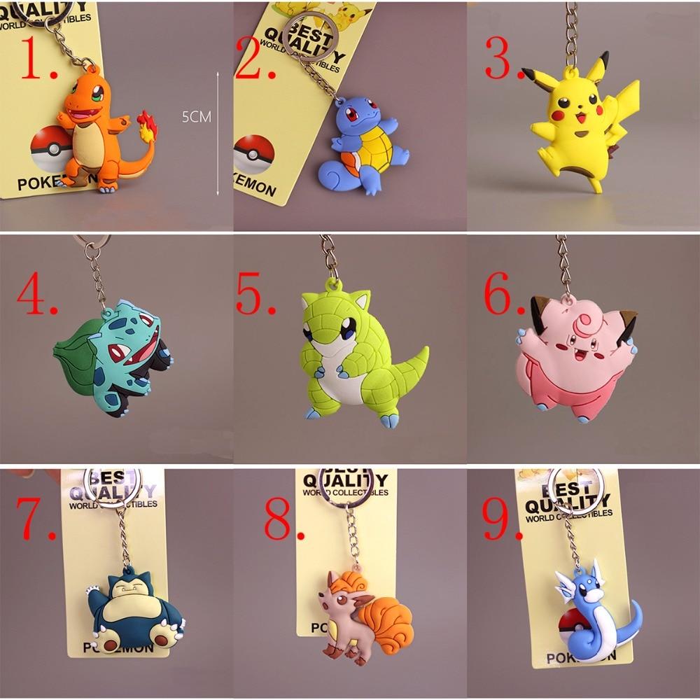 wholesale 25PCS Pikachu Keychain Pocket Monster Pokemon Go Key Holder Key Ring Pendant , free choose number keychain holder key ring with vine bottle pendant 3pcs
