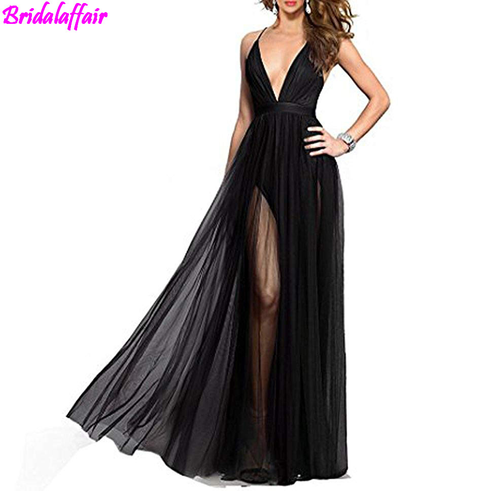 Women's Deep V-Neck Tulle   Prom     Dresses   Long Backless Formal Party Evening   Dress   ballkleider lang vestido de festa longo Gown